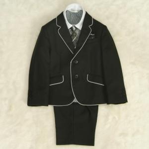 アウトレット 男の子スーツ5点セット 100cm〜130cm  黒パイピング シャツ衿袖クレリック 二つ釦タイプ ハーフパンツセット|doresukimono-kyoubi