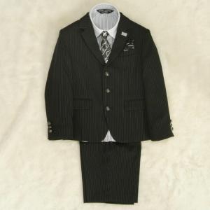 アウトレット 男の子スーツ5点セット チャコールグレー シャツ衿袖クレリック 三つ釦タイプ ハーフパンツセット 120cm ミチコロンドン