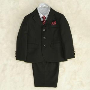 アウトレット 男の子スーツ5点セット チャコールグレー シャツカラーストライプ 三つ釦タイプ ハーフパンツセット 120cm|doresukimono-kyoubi