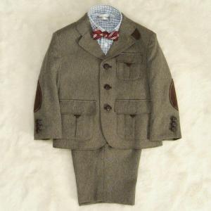 アウトレット 男の子スーツ4点セット 茶色 シャツカラーチェック 三つ釦タイプ ハーフパンツセット 130cm
