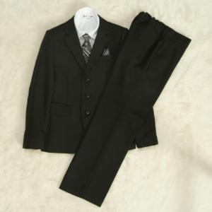 アウトレット 男の子ジュニアフォーマルスーツ5点セット 140cm〜165cm 黒地 シャツカラー白 三つ釦 ロングパンツ|doresukimono-kyoubi