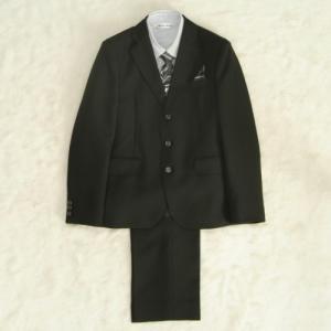 アウトレット 男の子ジュニアサイズフォーマルスーツ5点セット チャコールグレー グレーストライプシャツ 三つ釦 ロングパンツタイプ 150cm