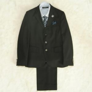 アウトレット 男の子ジュニアサイズフォーマルスーツ5点セット チャコール ブルーストライプシャツ 三つ釦 ロングパンツタイプ 150cm ミチコロンドン