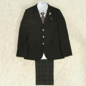 アウトレット 男の子ジュニアスーツ5点セット チャコールグレー 白シャツ ロングパンツ 150cm JFAオフィシャル仕様