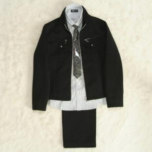 アウトレット 男の子ジュニアスーツ4点セット ジップアップジャケット 黒 グレーストライプシャツ ロングパンツ 140cm ミチコロンドンブランド