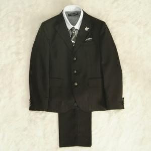 アウトレット 男の子ジュニアスーツ5点セット チャコールグレー クレリックタイプチェックシャツ 三つ釦タイプ 160cm ミチコロンドン