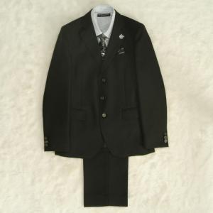 アウトレット 男の子ジュニアスーツ5点セット チャコールグレー グレーストライプシャツ 三つ釦 ロングパンツタイプ 160cm ミチコロンドン