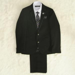 アウトレット 男の子ジュニアフォーマルスーツ5点セット チャコール パープルストライプシャツ 二つ釦 ロングパンツタイプ 165cm ミチコロンドン