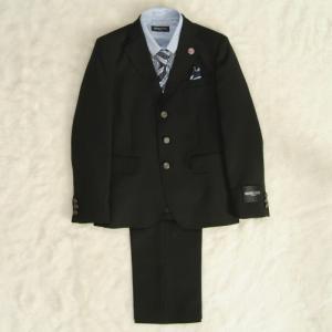 アウトレット 男の子ジュニアフォーマルスーツ5点セット チャコール ブルーストライプシャツ 三つ釦 ロングパンツ 165cm ミチコロンドン