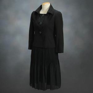 フォーマルスーツ アウトレット品 セミロング丈 ブラック 3点セット サイズ5号|doresukimono-kyoubi
