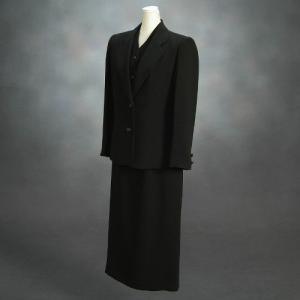 ブラックフォーマルスーツ 喪服 礼服 アウトレット品 スリーピースセット サイズ9号 日本製 NO684|doresukimono-kyoubi