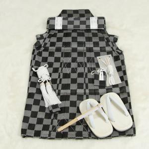 七五三男児袴セット 市松模様 グレー 三歳用 52cm 七点セット へら付き|doresukimono-kyoubi