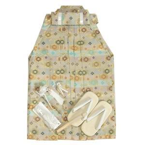 七五三 着物 男児袴セット 淡い水色パープル 紋柄袴 5歳用 60cm 七点セット へら付き