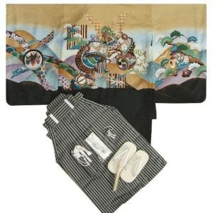七五三男児着物袴セット 兜 金茶色(黄土色) 松竹梅 黒縞袴 5歳用 12点セット 足袋付きセット|doresukimono-kyoubi