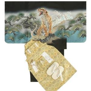 七五三男児着物袴セット 虎 黒地羽織着物 金糸刺繍使い 金襴紋袴 5歳用 12点セット 足袋付きセット|doresukimono-kyoubi