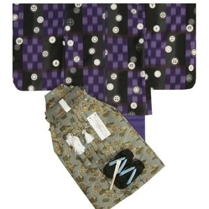 七五三着物五歳 男児着物袴セット 式部浪漫 濃淡紫色市松羽織 紫色地着物 金襴龍紋袴 5歳用 12点セット 足袋付きセット|doresukimono-kyoubi