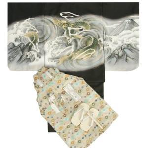 七五三男児着物袴セット 黒地羽織着物 ベージュ金襴袴 龍 5歳用 12点セット 足袋付きセット|doresukimono-kyoubi