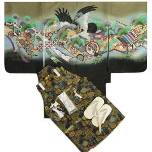 七五三 着物 男児着物袴セット 濃グリーン 兜 水車(みずぐるま)柄 紺地紋袴 5歳用  12点セット 足袋付きセット