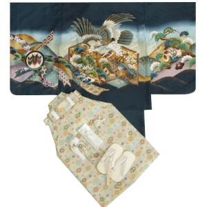 七五三 着物 男の子 羽織着物袴セット 紺 鷹 金屏風 ベージュ紋袴 5歳用  12点セット 足袋付きセット|doresukimono-kyoubi