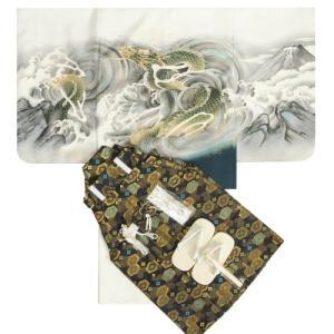 七五三男児着物袴セット 白地羽織 白地着物 龍 金糸刺繍使い 黒紋袴 5歳用 12点セット 足袋付きセット|doresukimono-kyoubi