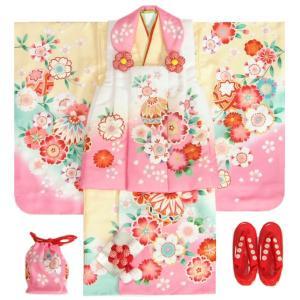 七五三 着物 3歳 女の子 被布セット 京都花ひめ 絵羽柄 黄色ピンク染め分け 被布白ピンク切替 二段重ね衿 刺繍半衿に足袋付きセット
