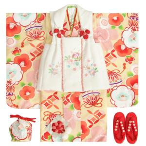 七五三着物 3歳 女の子被布セット 京都花ひめ 黄色ピンクぼかし着物 被布ピンク刺繍使い 捻り梅 鈴 足袋付き11点フルセット