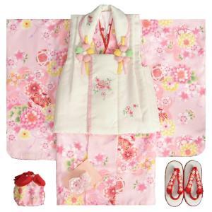 七五三 着物 3歳 女の子被布セット 夢想ブランド ピンク 被布ベージュ 桜刺繍 金彩 刺繍半衿付き 足袋付フルセット|doresukimono-kyoubi