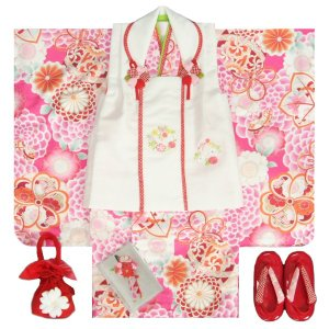 七五三 着物 3歳 女の子 被布セット マユミブランド ピンク色 牡丹菊 被布刺繍使い白色 雛祭り 正月 足袋付フルセット 日本製