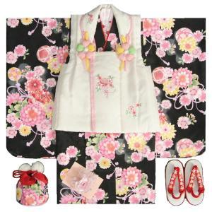 七五三 着物 3歳 女の子被布セット 夢想ブランド 黒 被布ベージュ 桜刺繍 金彩 刺繍半衿付き 足袋付フルセット|doresukimono-kyoubi
