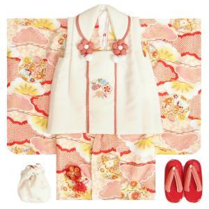 七五三 着物 3歳 女の子 被布セット 小町kids(小町キッズ)ブランド 淡ピンク色 被布白地色 刺繍使い 松 刺繍半衿に足袋付きフルセット
