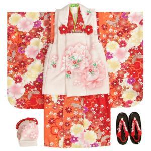 七五三 着物 被布セット 3歳 女の子 マユミ 濃淡赤地色着物 被布淡いピンク 刺繍桜 芍薬 足袋付き12点フルセット