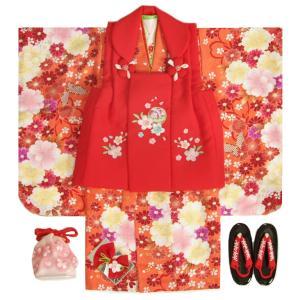 七五三 着物 被布セット 3歳 女の子 マユミ 朱赤染め分け 被布赤色 刺繍桜 芍薬 足袋付き12点フルセット
