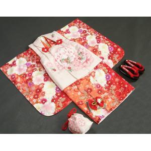 七五三 着物 被布セット着物 3歳 女の子 被布セット  マユミ 濃淡赤地 被布淡いピンク 刺繍桜 芍薬 足袋付き12点フルセット|doresukimono-kyoubi|02