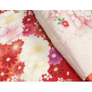 七五三 着物 被布セット着物 3歳 女の子 被布セット  マユミ 濃淡赤地 被布淡いピンク 刺繍桜 芍薬 足袋付き12点フルセット|doresukimono-kyoubi|03