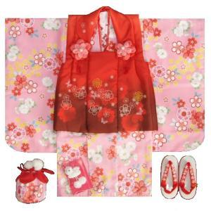 七五三着物 3歳女の子被布セット リョウコキクチブランド ピンク色 被布エンジ色刺繍使い 足袋に腰紐付き13点フルセット