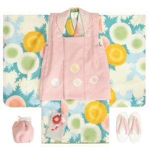 七五三 着物 3歳 女の子 被布セット 花わらべブランド 水色 あざみ 金彩使い 被布ピンク色刺繍使い 雛祭り 正月 足袋付セット 日本製