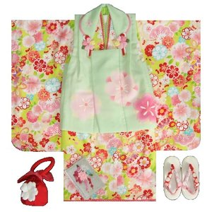 七五三着物 3歳女の子被布セット 式部浪漫ブランド 黄緑色着物 桜梅図 被布黄緑 足袋付セット 753