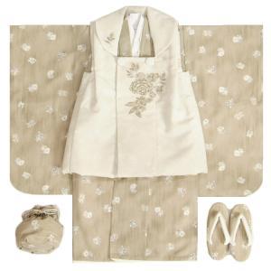 七五三 着物 3歳 女の子被布セット JILLSTUART ジルスチュアート 白色着物 紫華 刺繍使い 足袋付セット 日本製
