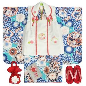 七五三 着物 3歳 女の子 被布セット マユミブランド 青緑色 牡丹菊 被布刺繍使い白色 雛祭り 正月 足袋付フルセット 日本製