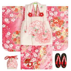 七五三 着物 被布セット着物 3歳 女の子 被布セット  マユミ 濃淡ピンク地 被布淡いピンク 刺繍桜 芍薬 足袋付き12点フルセット
