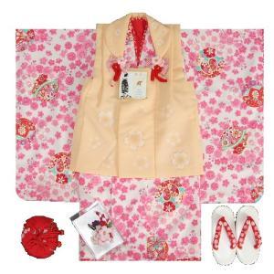 七五三着物 三歳女の子被布セット 花夢二 白地 ピンク 被布オレンジ 桜 金彩 足袋付セット