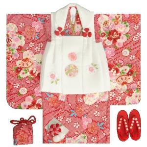 七五三着物 3歳 女の子被布セット 京都花ひめ 赤地総疋田着物 被布白 まり 足袋付き11点フルセット