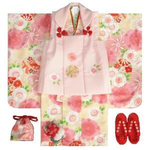 七五三着物 3歳 女の子被布セット 京都花ひめ 黄色地着物 被布淡ピンク刺繍使い 桜 まり 足袋付き11点フルセット