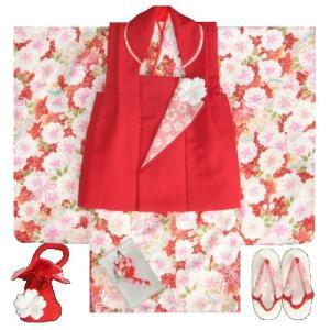 七五三 着物 三歳 女の子 被布セット 京都花ひめブランド 赤地色 被布赤色 楓 桜 地紋生地 足袋付きセット