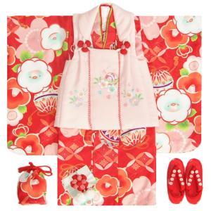 七五三 着物 3歳 女の子被布セット 夢想ブランド 赤 被布ベージュ 桜刺繍 金彩 刺繍半衿付き 足袋付フルセット|doresukimono-kyoubi