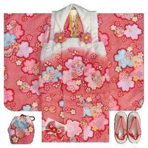 七五三 着物 3歳女の子被布セット 天使ブランド 赤色総疋田柄 被布紅白切替 二段重ね衿 刺繍半衿に足袋付きセット