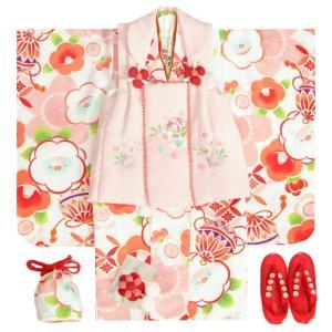 七五三 着物 3歳 女の子 被布セット 京都花ひめ 白色 光琳雪椿 前竪衿疋田飾り縫い ピンク色被布 桜刺繍 刺繍半衿付き 足袋付フルセット