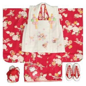 七五三 着物 三歳 女の子 被布セット リョウコキクチ 赤 桜 被布ベージュ刺繍使い 雛祭り 753 足袋に腰紐付きの12点セット|doresukimono-kyoubi