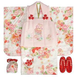 七五三着物 3歳 女の子被布セット 京都花ひめ 白色ぼかし着物 被布ピンク刺繍使い 捻り梅 鈴 足袋付き11点フルセット