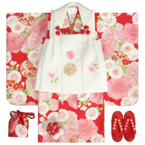 七五三 着物 3歳 女の子 被布セット 京都花ひめ 赤地着物 被布白刺繍使い 桜 まり 足袋付き11点フルセット
